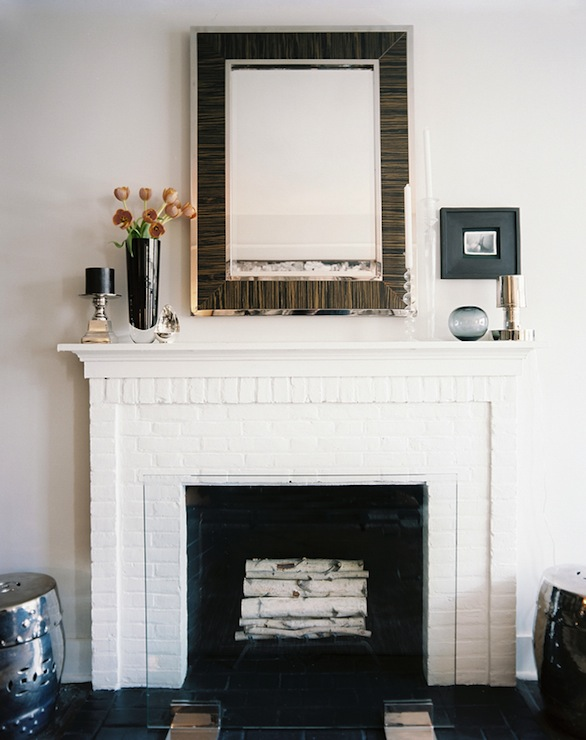 mirror above fireplace contemporary living room lonny magazine