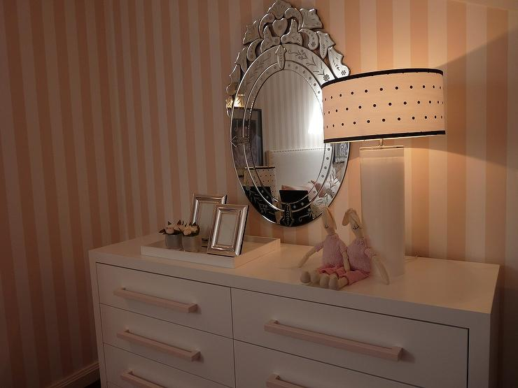 white and pink striped walls - Mirror For Girls Room
