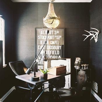 Black Grasscloth Wallpaper