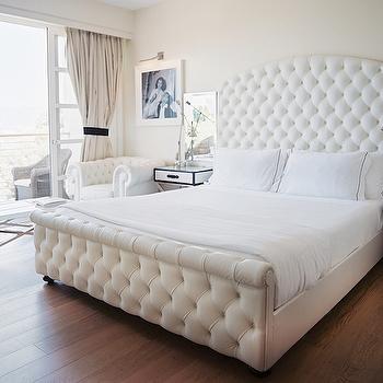 White Velvet Tufted Headboard, Hollywood Regency, bedroom, Lonny Magazine
