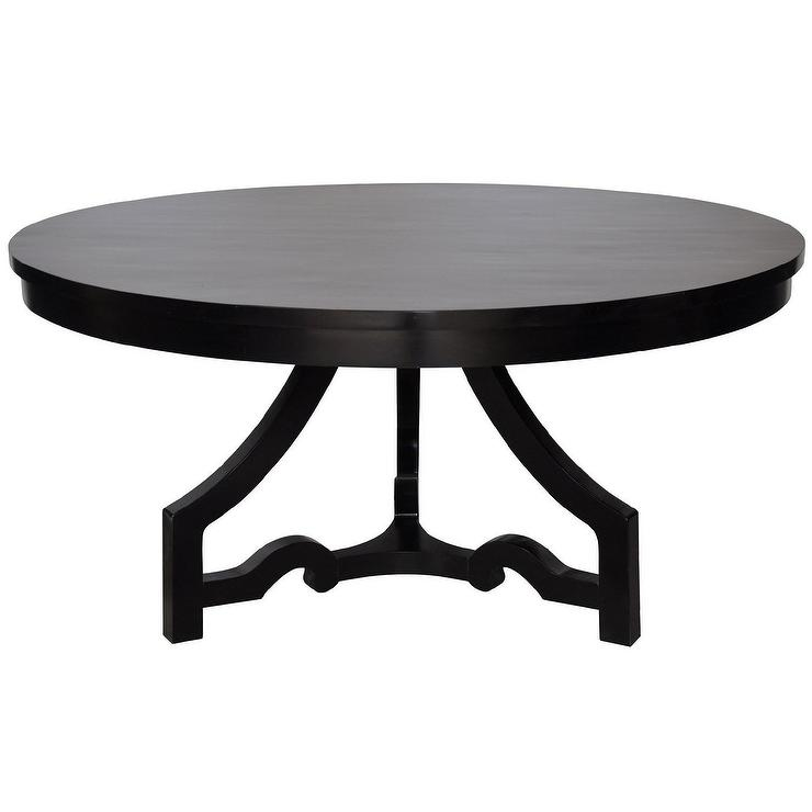 Noir 3 leg round dining table distressed black for Distressed round dining table