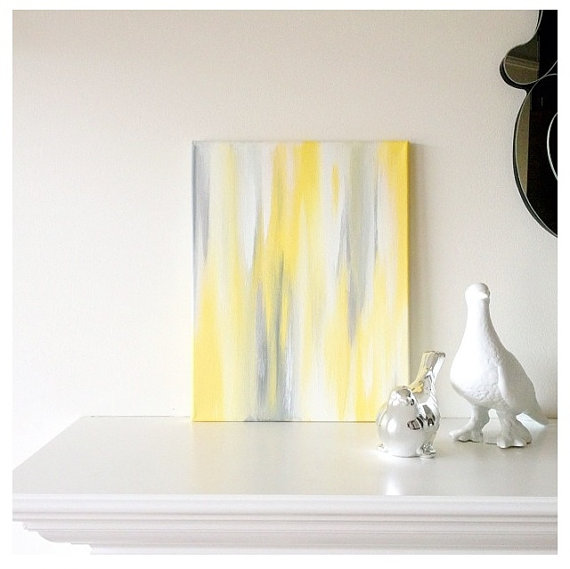 11x14 Canvas Painting Confetti Yellow Amp Grey By Luluanddrew