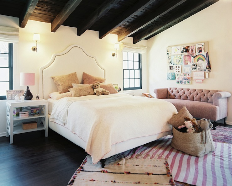 Estee Stanley   Chic Girlu0027s Room With White Serena U0026 Lily Pondicherry  Headboard With Nailheads, Pink Pillows, Thomas Ou0027Brien Bryant Sconces And  White ...