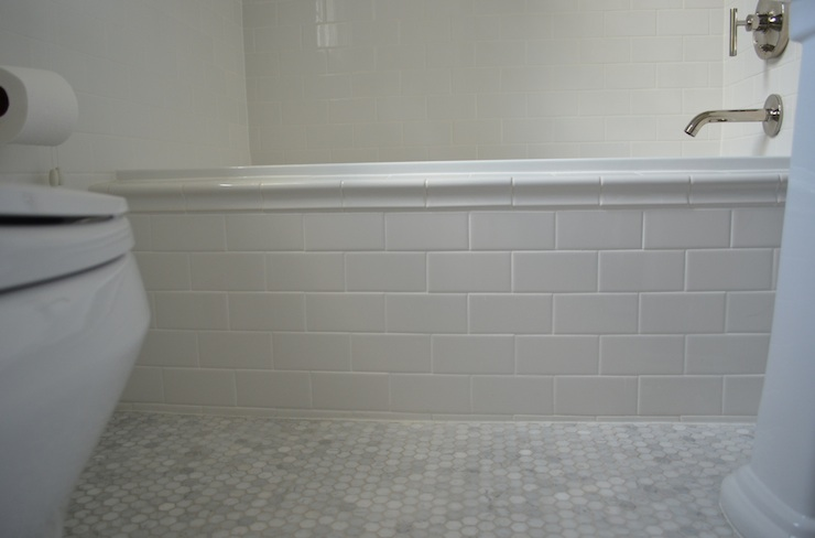Subway tile tub transitional bathroom one story building Marble hex tile bathroom floor