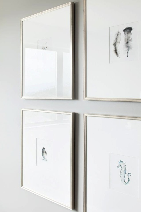 soft gray walls and silver gallery frames filled with seahorse and feather art