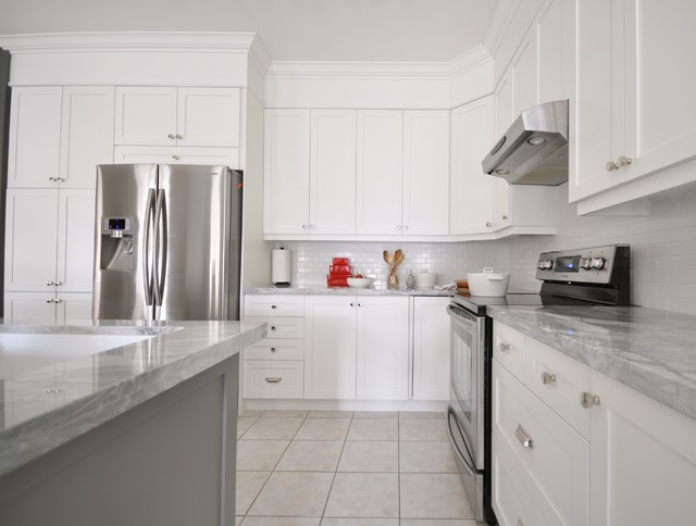 Contemporary White Shaker Kitchen white shaker kitchen cabinets with granite countertops amazing
