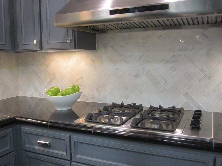 hampton carrara marble backsplash herringbone pattern detail