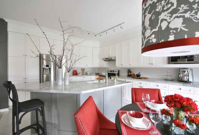 White And Red Kitchen Contemporary Kitchen Meredith Heron Design