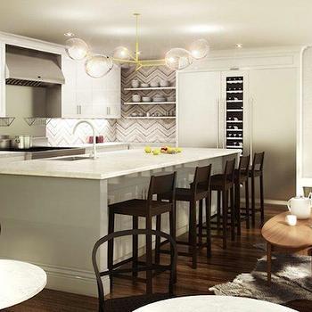 Chevron Tile Backsplash, Contemporary, kitchen, Kelly Deck Design