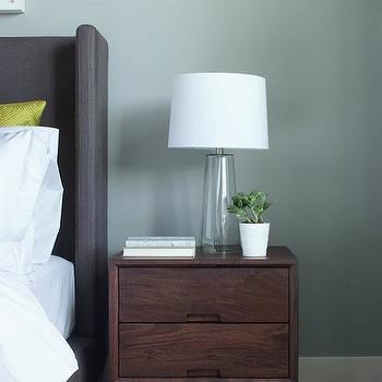 Gray Wingback Headboard, Contemporary, bedroom, Kelly Deck Design