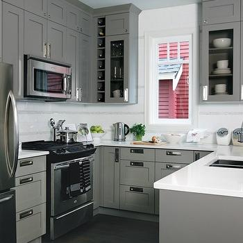 Cabinets Over Stove Design Ideas - White and gray kitchen designs
