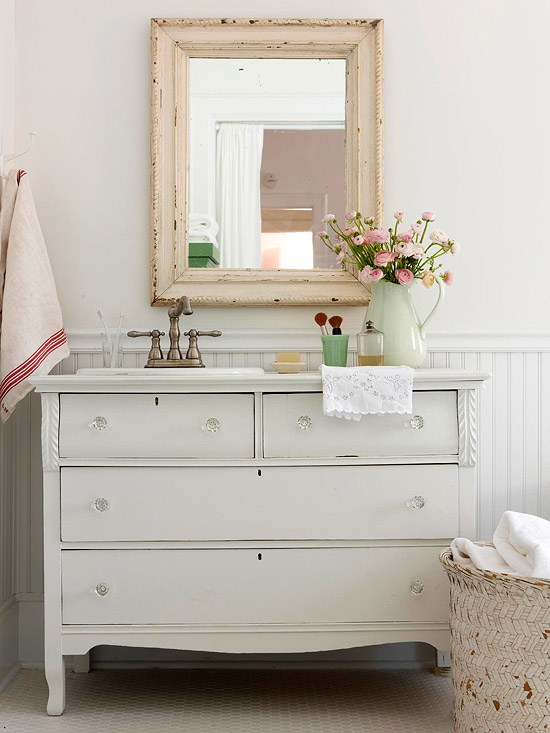 View Full Size Pretty Cottage Bathroom With White Vintage Dresser Turned Vanity