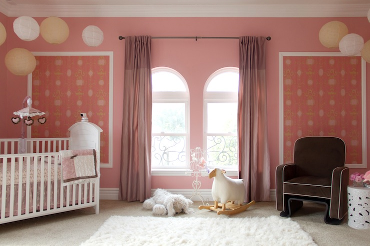 pink curtains traditional nursery a s d interiors