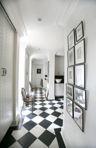Black And White Checkered Floor Eclectic Entrance Foyer