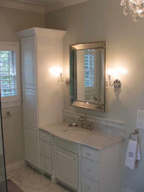 Silver Beaded Mirror Transitional Bathroom West End Cabinet Beauteous Bathroom Cabinets Company