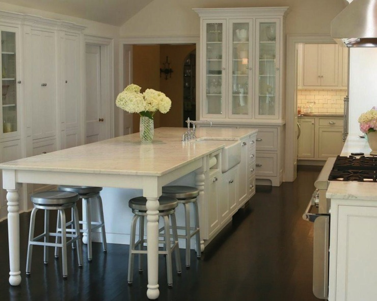 Marble Kitchen Island Traditional Kitchen West End