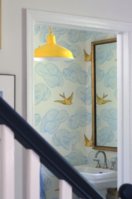 Incredible Whimsical Bird And Cloud Wallpaper Love The Pop Of Color With The Yellow Vintage Barn Pendant Fixture