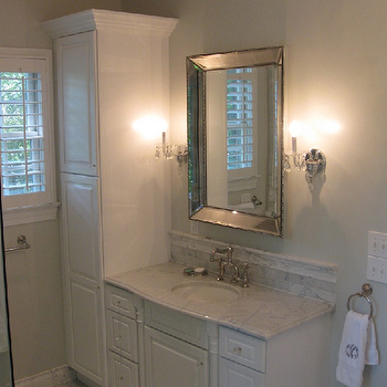 Silver Beaded Mirror, Transitional, bathroom, West End Cabinet Company