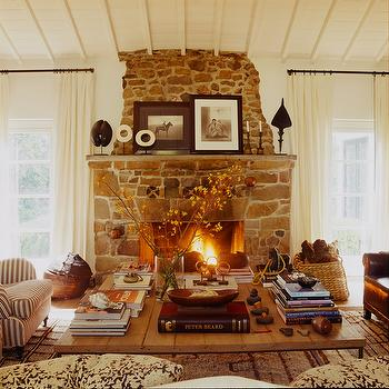 Rustic Stone Fireplace, Country, living room, Martyn Lawrence Bullard Design
