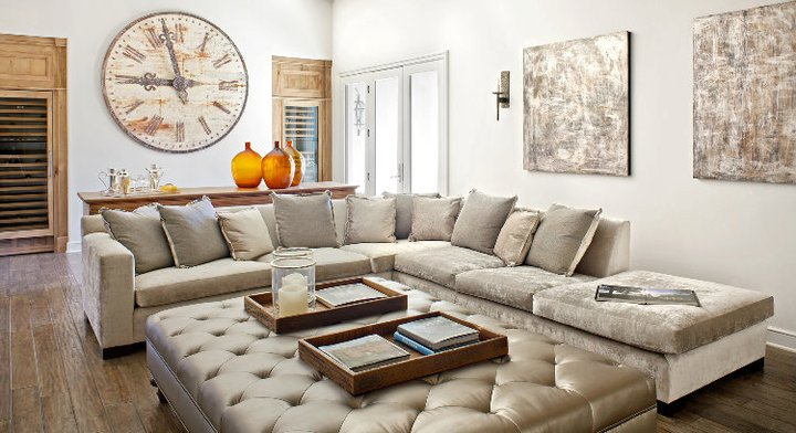 Gray Velvet Sectional Sofa Mediterranean Living Room
