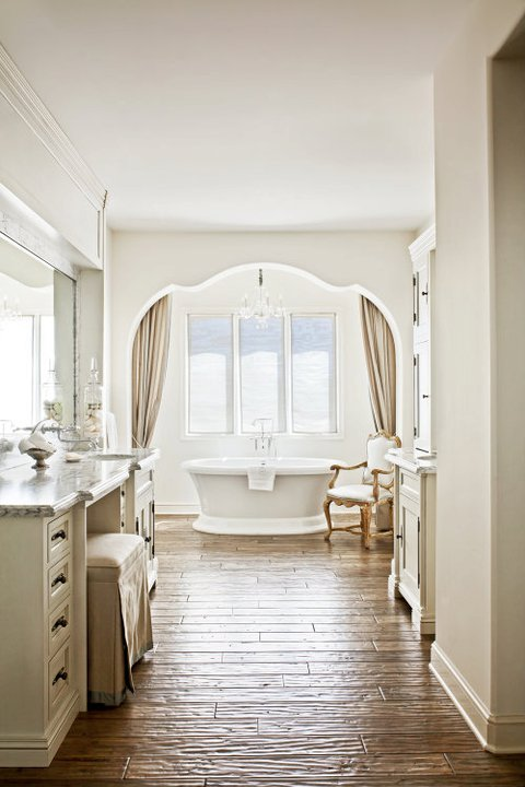 Rustic french bathroom with wood ceiling beams french for French bathroom decor