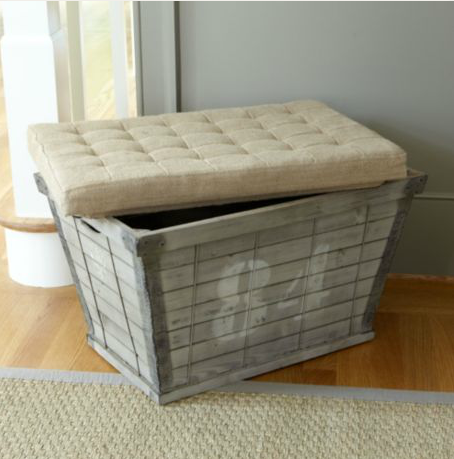 Ballard designs wood plank storage bench for Ballard designs bench seating