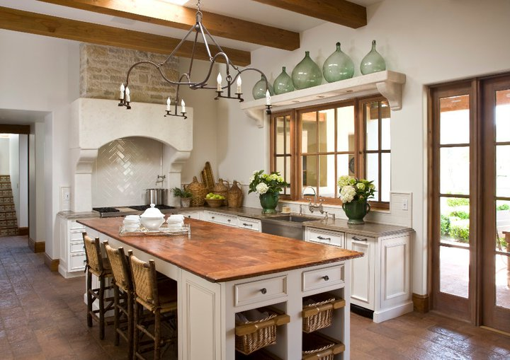 Reclaimed Wood Countertops Mediterranean Kitchen