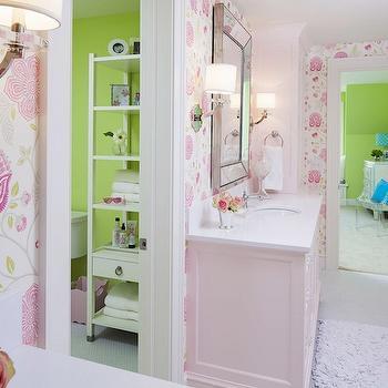 Pink Cabinets, Traditional, bathroom, Benjamin Moore Pink Cadillac, Martha O'Hara Interiors