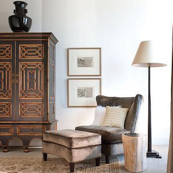 Gray Velvet Chair, Transitional, living room, Catherine Dolen & Associates