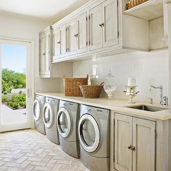 Gray Washed Cabinets, Mediterranean, laundry room, Palm Design Group