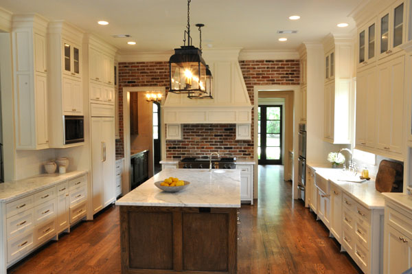 Exposed Brick Wall Traditional Kitchen Luxe Living Interiors