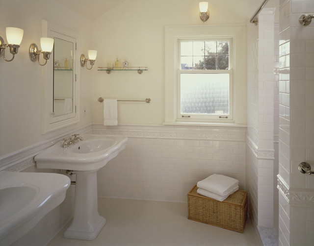 His And Her Pedestal Sinks Traditional Bathroom