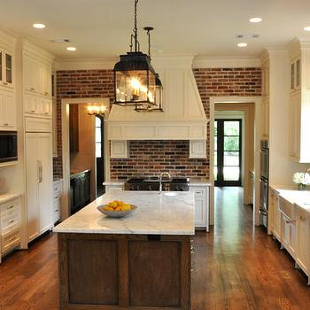 Exposed Brick Wall, Traditional, kitchen, Luxe Living Interiors