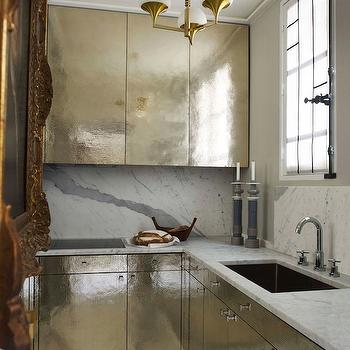 Hammered Silver Cabinets, Contemporary, kitchen, Elle Decor