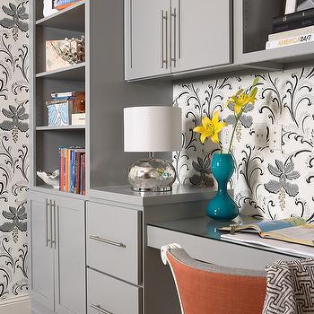 Gray Cabinets, Contemporary, den/library/office, Martha O'Hara Interiors