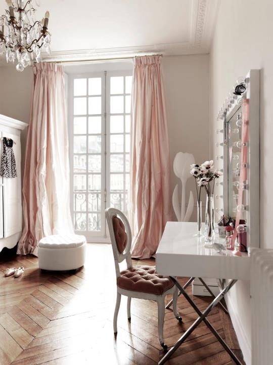 Pink Drapes - French - bedroom - Elle Decor