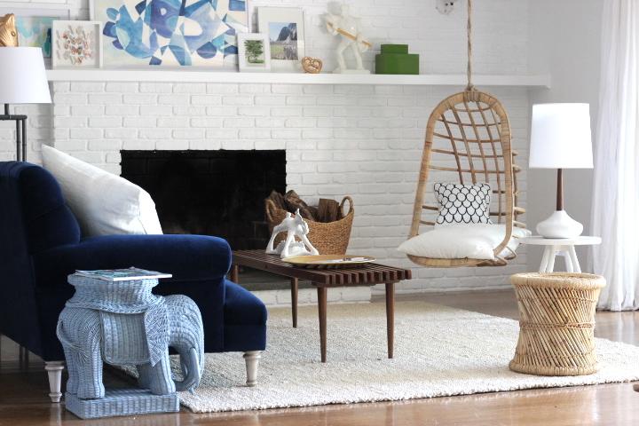 Indigo Blue Velvet Sofa Vintage Living Room Emily