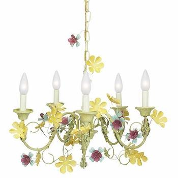 Five Arm Multi Leaf and Flower Chandelier, Rosenberry Rooms