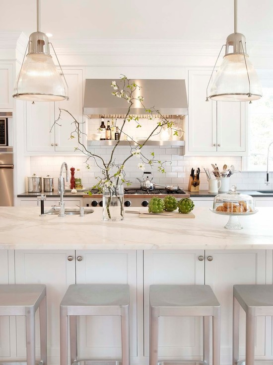 White shaker cabinets transitional kitchen papyrus for White shaker kitchen designs