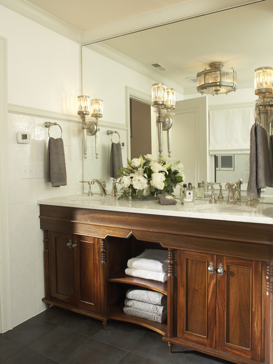 Dark Maple Cabinets View Full Size. Stunning Bathroom!