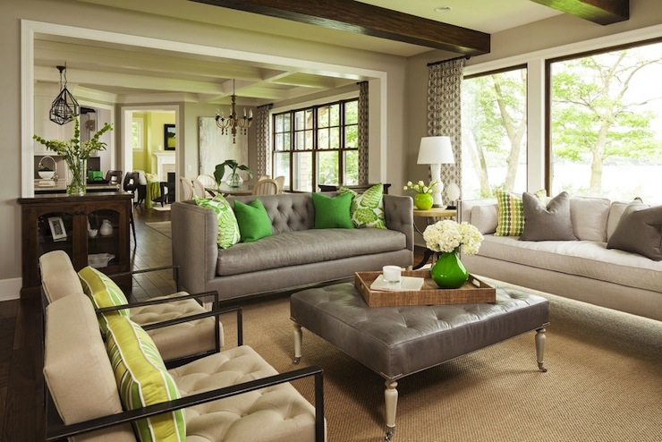 View Full Size Gray Tufted Sofa With Emerald Green