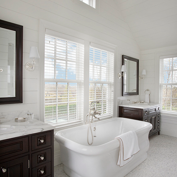 Chocolate Brown Cabinets, Transitional, bathroom, Barbara Waltman Design