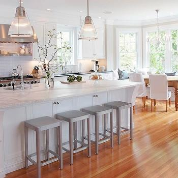 White Kitchen Cabinets with Marble Countertops, Transitional, kitchen, Papyrus Home Design