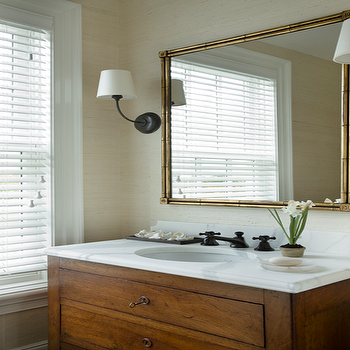 Gold Bamboo Mirror, Transitional, bathroom, Barbara Waltman Design