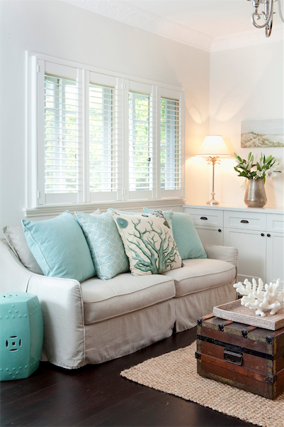 aqua accent table cottage living room porchlight interiors