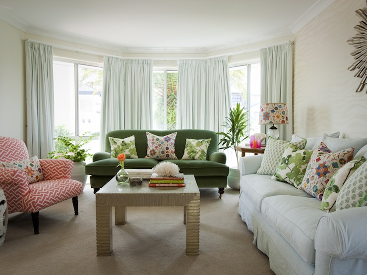 White Slipcoved Sofa English Rolled Arm Emerald Green Velvet And Vintage Reupholstered Armchair In China Seas Aga Reverse Fabric Watermelon On Tint