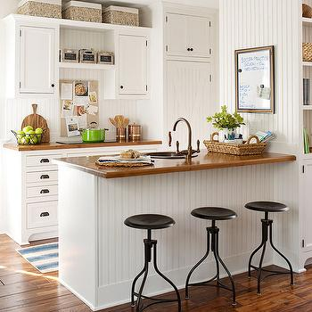 Beadboard trim on kitchen peninsula cottage kitchen - Banquetas para cocina ...