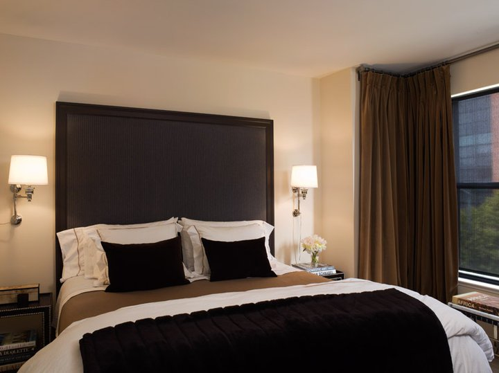Curtains Ideas black velour curtains : Brown and Black Bedrooms - Transitional - Bedroom