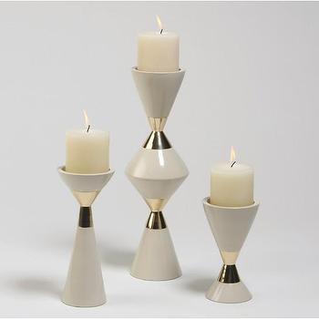Hourglass Pillar Candleholders, by DwellStudio
