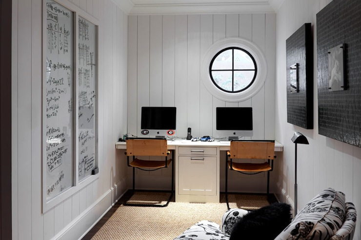 Betty Burgess Design   Modern Cottage Office With White Vertical Tongue And Groove  Walls, Wall To Wall Built In Desk For Two, Leather Office Chairs, ...